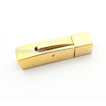 BX113 Venta al por mayor de joyería de acero inoxidable encontrando Golden Square cierre de acero inoxidable para pulseras de cuerda