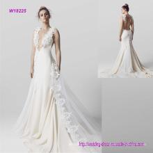 Novo estilo moderno decote em v profundo baixo vestido de noiva
