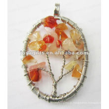 Red Agate Chip Stone Beads Lucky árvore pingente