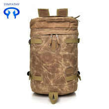 Personality backpack women's wax anti - splash canvas