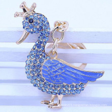2015 new design rhinestone duck wholesale keyring
