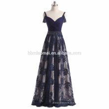 2017 nouvelle mode bleu couleur dos nu robe de soirée profonde robe de demoiselle d'honneur de plancher de plancher pour le mariage