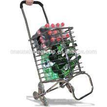 Chariot pliable en aluminium, panier en aluminium avec roues.