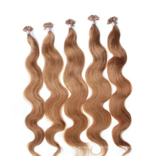 20inch Length Brown Color Curly Style U Tip Hair Extension