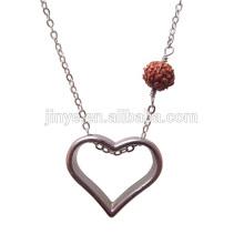 Moda simples colar de coração aberto com contas Rudraksha