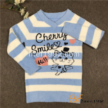 Animaux câble tricot rayé col V pull pour fille