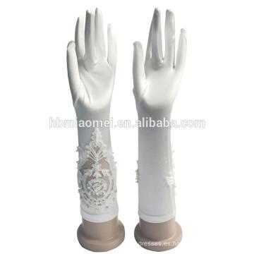 2017 boda de lujo nupcial corto satén guantes