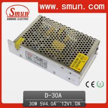 Fuente de alimentación conmutada dual Ouput de volumen pequeño de 30W 5V / 12V con 2 años de garantía (AD-30A)