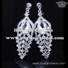 Crystal Peacock Earrings With Big Red Diamonds