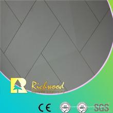 Plancher stratifié chanfreiné par teck à haute brillance en teck AC4 commercial de 12.3mm