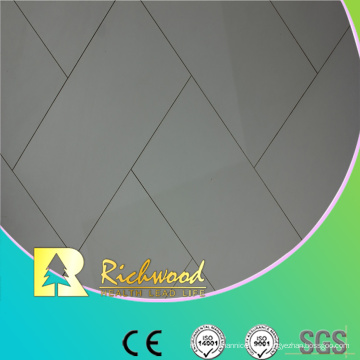 Commercial 12.3mm AC4 High Gloss Teak Waxed Edged Laminated Floor