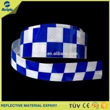 cinta reflectante a cuadros blanca azul