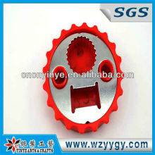 2013 popular bottle cap shaped bottle opener, OEM PVC bottle cap opener