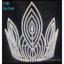 Fashion large pageant crowns customized crowns tall pageant crown tiara
