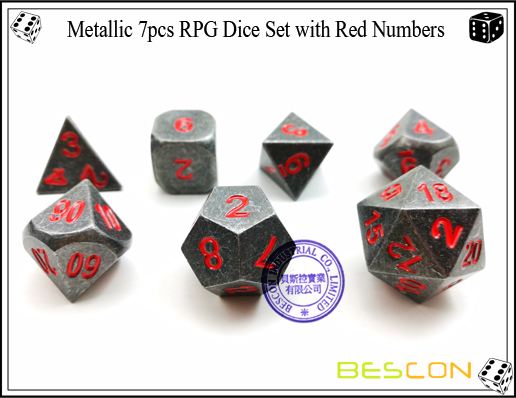 Metallic 7pcs RPG Dice Set with Red Numbers-4