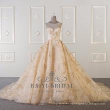 Vestido de novia de oro de la foto real bling bling vestido de novia 2018 WT515