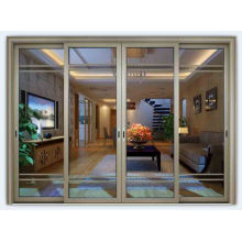 Portão de porta principal de vidro temperado de alumínio porta corrediça