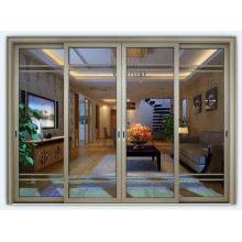 Конструкция с двумя главными воротами Двойная закаленная стеклянная алюминиевая раздвижная дверь