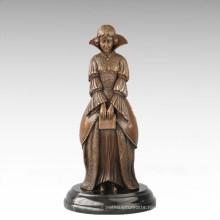 Classical Figure Statue Baroque Book Lady Bronze Sculpture TPE-699