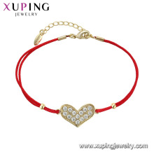 75547 xuping latest simple design wholesale cute heart shape bracelet for girls