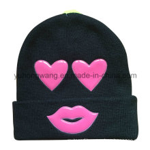 Fashion Knitted Winter Beanie Hat/Cap with PVC Patch