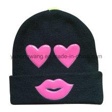 Chapeau / Bonnet Beanie Beanie Knitted avec Patch en PVC