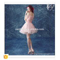2016 Pink women clothes balloon style sexy dresses woman ball gown fashion pink stripe party dress