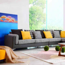 Corner Fabric Sectional L-Shaped Lounge Sofa Set