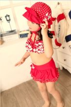 2015 Baby girls swim red swim suit girls swimming suit red swimming suit with hat