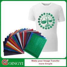 Qingyi cheap glitter heat transfer vinyl for 10*12 inch