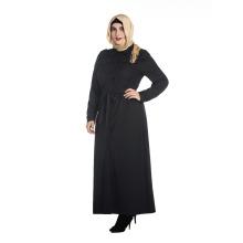 Otoño e invierno más tamaño abaya ropa islámica color negro manga larga abaya musulmán