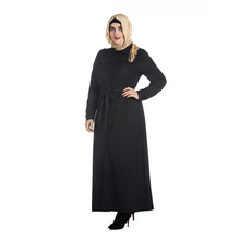 Autumn and winter plus size abaya islamic clothing black color long sleeve muslim abaya