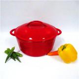 colorful enamel round cast iron casserole