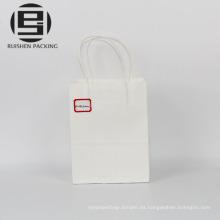 Barato retorcido manijas de papel blanco bolsas de transporte