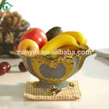 Ouro, pulverizado, real, clássico, lar, decoração, cerâmico, fruta, tigela