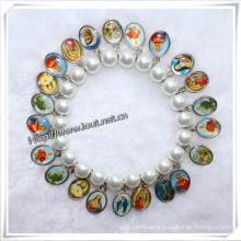 Factory Discount Religious Glass White Beads Rosary Bracelets (IO-CB021)