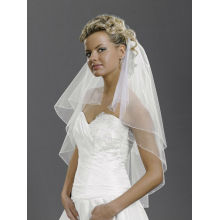 White Ivory 2T Rhinestones beads Elbow Corded Edge Bride Wedding Veil comb