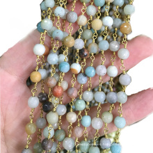 XULIN Wholesale Mix-color Gemstone Natural Wire Wrapped Rosary Beads Chain