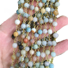 XULIN Wholesale Mix-color Natural Gemstone Wire Wrapped Rosary Beads Chain