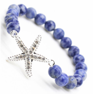Sodalite Gemstone Bracelet with Diamante alloy starfish Piece