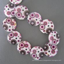 Geometric Patterns Disc Shell Beads, Big Coin Shell (SHB2004)