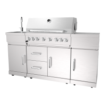 Churrasqueira a gás para cozinha ao ar livre com seis queimadores