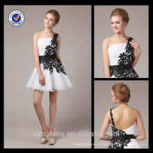 5354 One shoulder chiffon real sample new evening dress ahort lace appliqued kids girls evening dresses