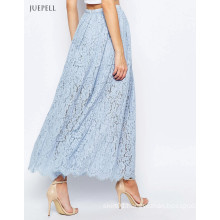 Lace Maxi Long Beach Women Skirt in Sky Blue