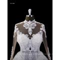 2017 novo design mangas compridas vestido de casamento com trem de catedral