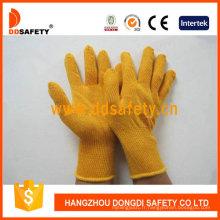 Gants de sécurité en tricot de gant tricoté en coton jaune de calibre 10 Dck610