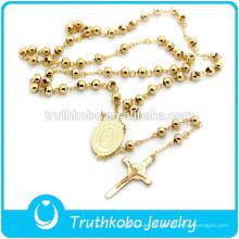 TKB-N0019 Alto Processo Dourado Virgem Maria Cruz Saint Charme Colar de Aço Inoxidável de Alta Qualidade 316L