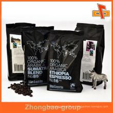 Material de embalaje de plástico guangzhou fabricante aceptar pedido personalizado sello de calor bolsa de café a prueba de humedad bolsas gusset con la impresión