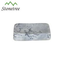 Mão-quente feito de pedra branca saboneteira em mármore