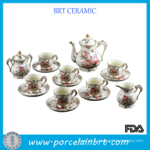 Fashion Elegant Rose Pattern Ceramic Tea Cup Set